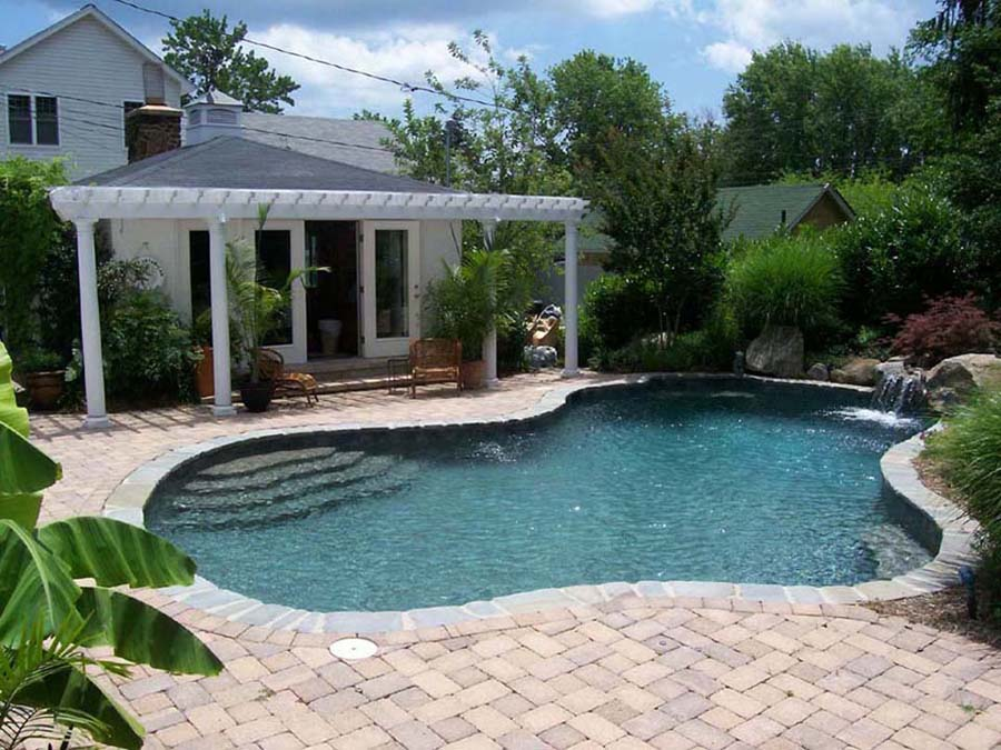 Custom Maryland swimming pool in annapolis- waterfalls, natural