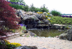 Pondless waterfall for rain water harvesting in Maryland