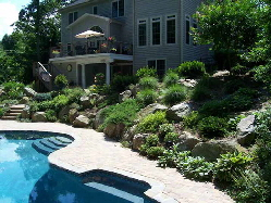 Living retaining Wall, in ground, concrete swimming  Pool