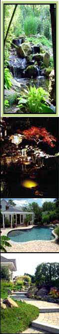 Maryland Water Features, waterfalls, pond, low voltage outdoor landscape lighting, Swimming Pool with dive rock & water falls, rockscaping with boulders