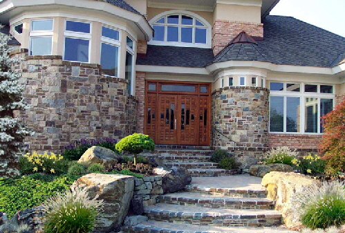 hardscapes design- front stone steps maryland