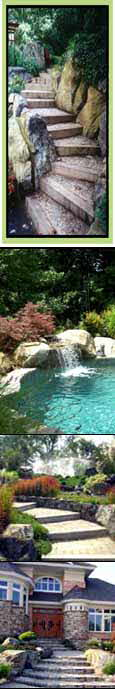 Maryland landscape contractor, Swimming pool installation w waterfalls, living retaining walls,  rockscaping, landscape design architecture