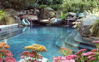 custom inground swimming pool eastern shore md- waterfalls, stone